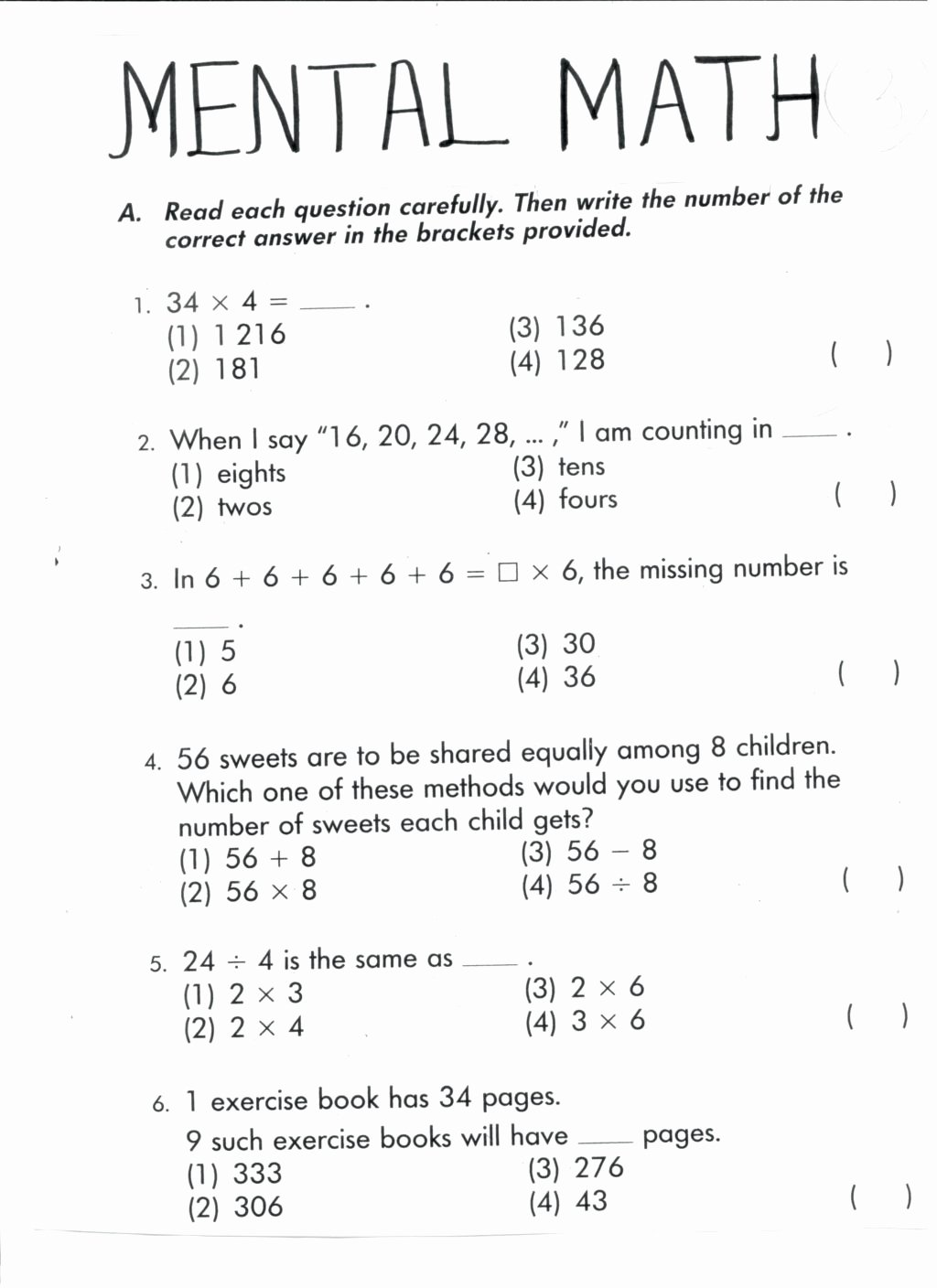 Mental Math Worksheets Grade 3 Free Worksheet Marvelous Mental Math Worksheets Grade