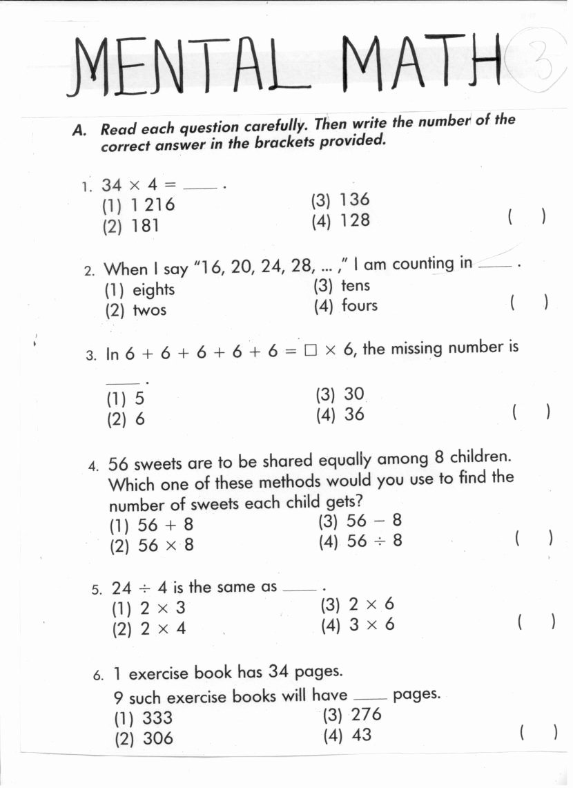 Mental Math Worksheets Grade 3 Kids Maths Activities for Grade Printable Mental Worksheets Year