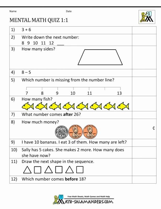 Mental Math Worksheets Grade 6 Ideas First Grade Mental Math Worksheets Maths for Class Cbse Pdf