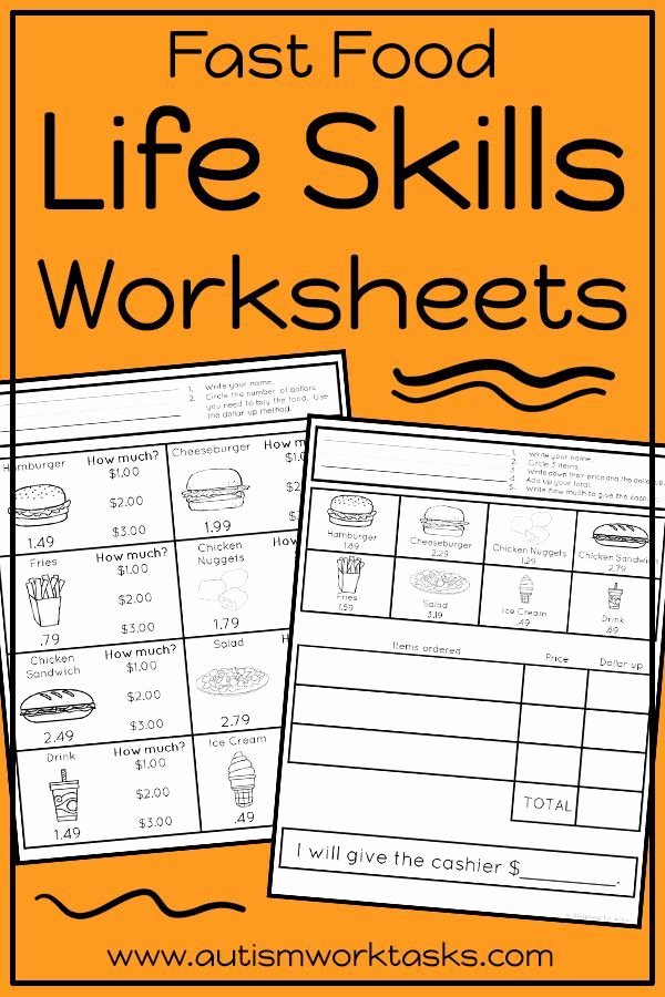 Middle School Life Skills Worksheets Best Of Life Skills Worksheets Fast Food Restaurants