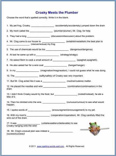 Middle School Life Skills Worksheets Lovely Free Printable Spelling Worksheets Grade English Croaky for