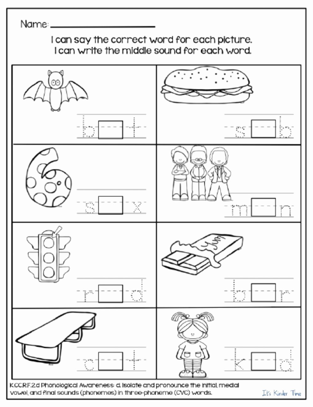 Middle sounds Worksheets for Kindergarten Best Of who S In the Middle Interactive Worksheet