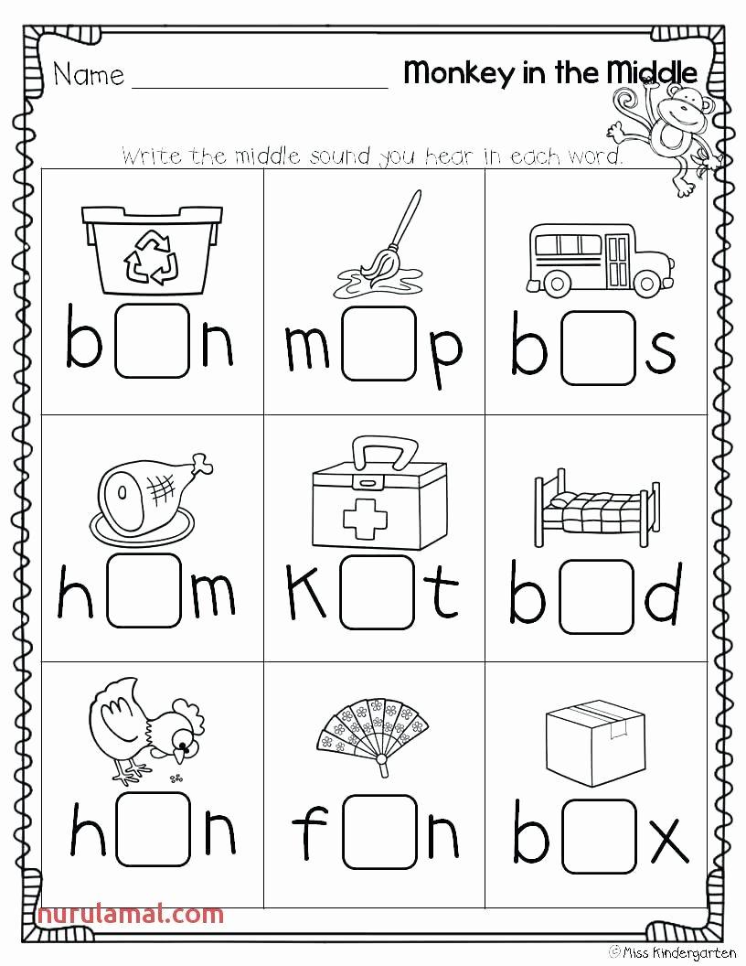 Middle sounds Worksheets for Kindergarten Free Middle sound Worksheets 1st Grade In 2020