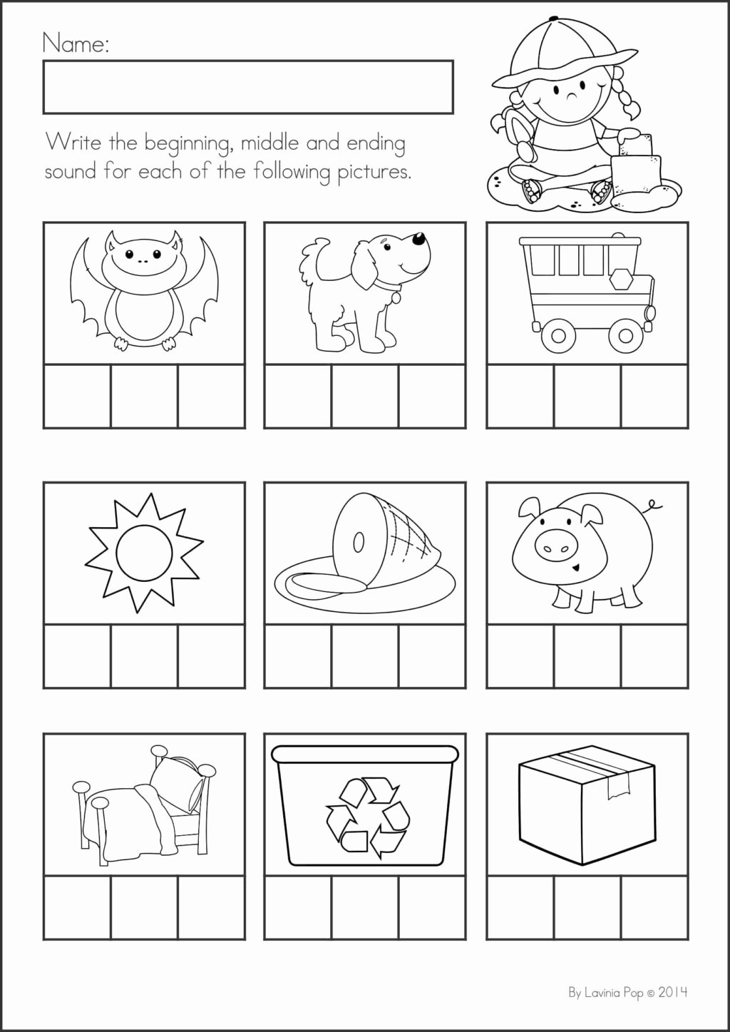 Middle sounds Worksheets for Kindergarten Kids Worksheet Worksheet Unique Writing Cvc Words Educational