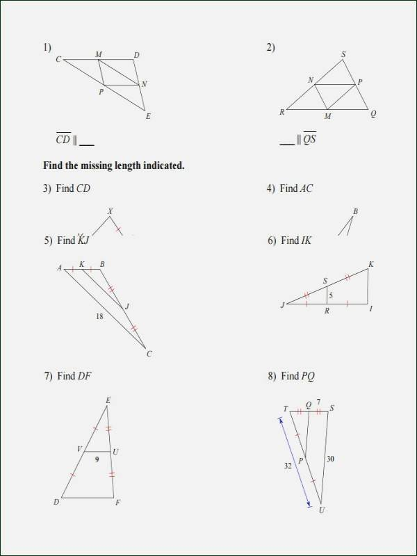 Midsegment theorem Worksheet Answer Key Free Midsegments Triangles Worksheet Answers