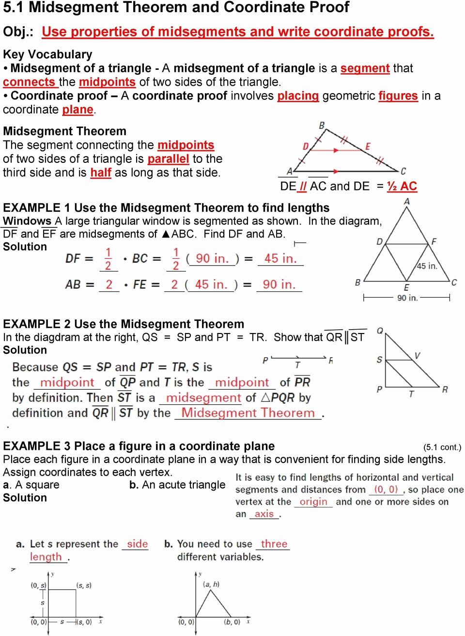 Midsegment theorem Worksheet Answer Key Kids 5 1 Midsegment theorem and Coordinate Proof Pdf Free Download