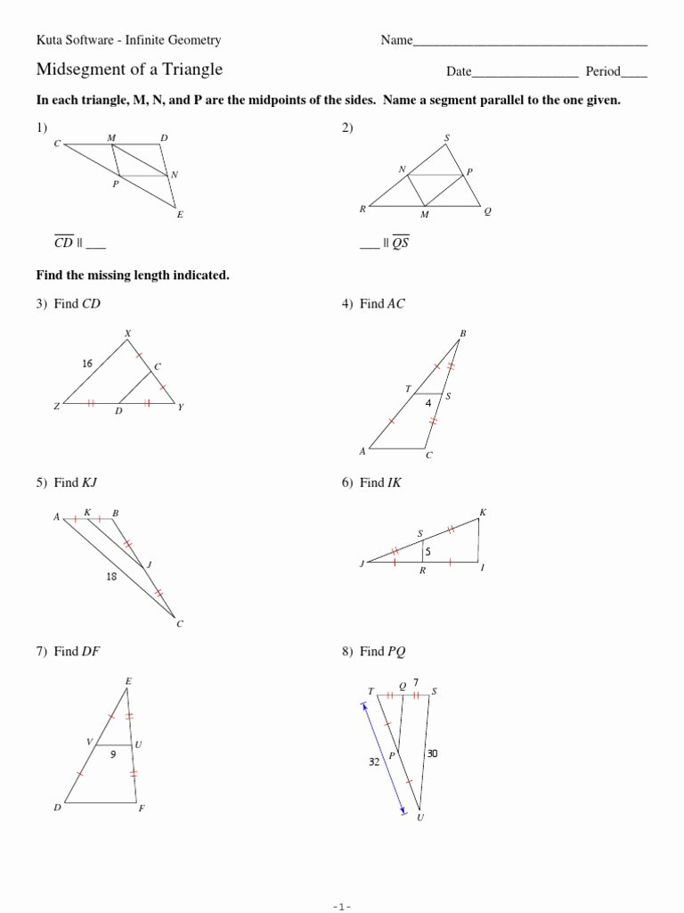 Midsegment theorem Worksheet Answer Key top 5 Midsegment Of A Triangle Geometric Shapes