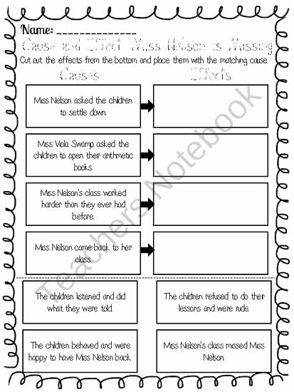 Miss Nelson is Missing Printables Kids Miss Nelson is Missing Cause and Effect Worksheet
