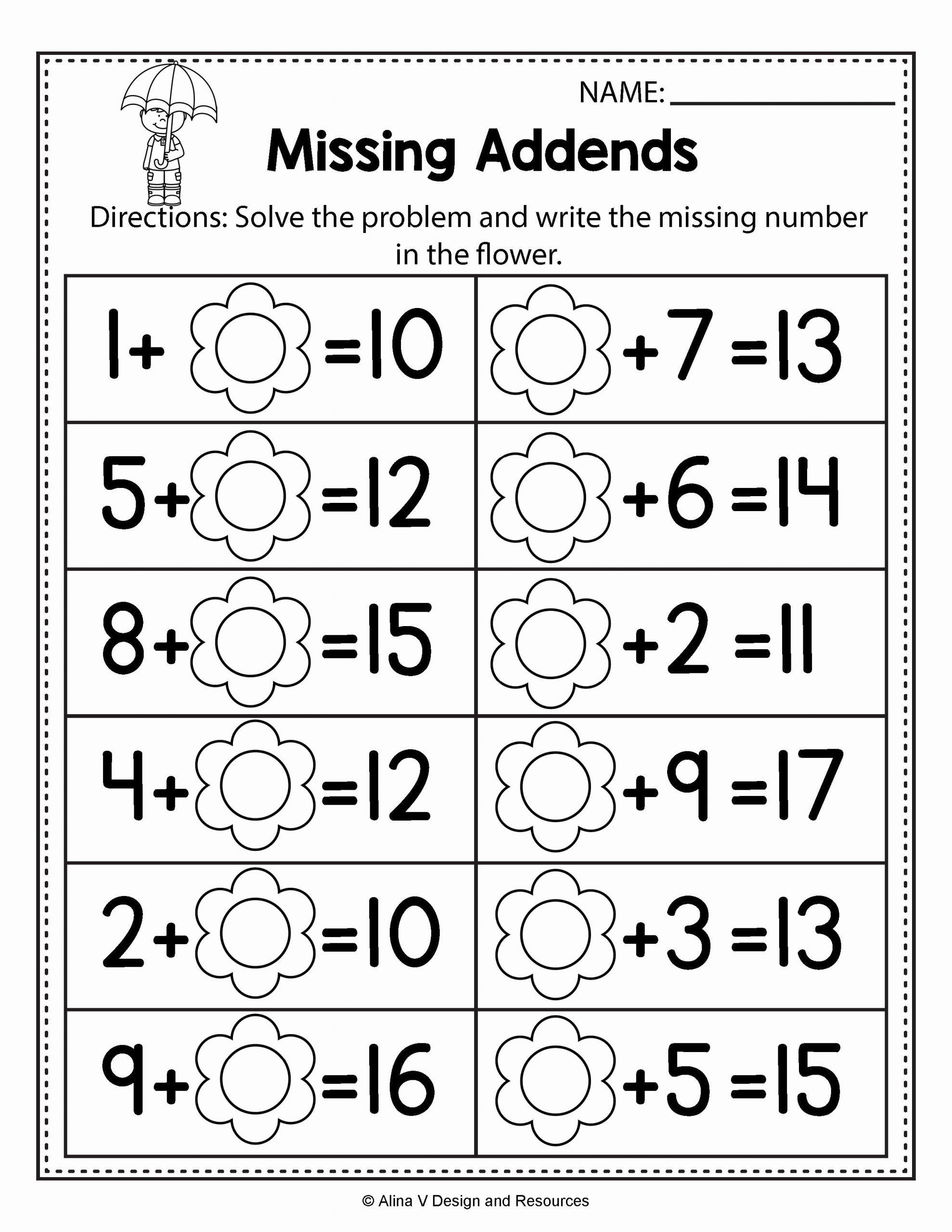 Missing Addend Worksheets 1st Grade Best Of First Grade Missing Addend Worksheets Refrence Unique Free