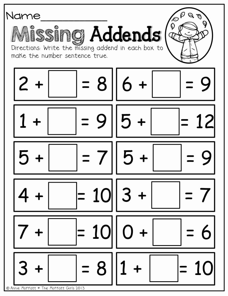 Missing Addend Worksheets 1st Grade New Missing Addend Worksheets 1st Grade Worksheet Ideas Missing
