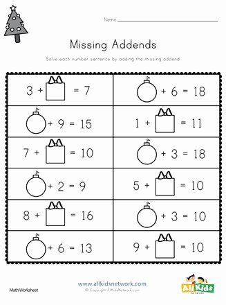 Missing Addend Worksheets First Grade Fresh Christmas Missing Addends Worksheet