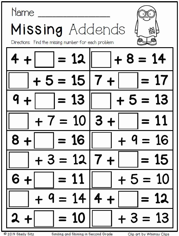 Missing Addend Worksheets First Grade Kids Free Halloween Math Missing Addends