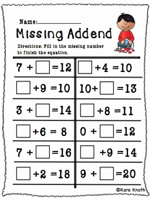 Missing Addend Worksheets First Grade Printable Pinstamatic Get More From Pinterest
