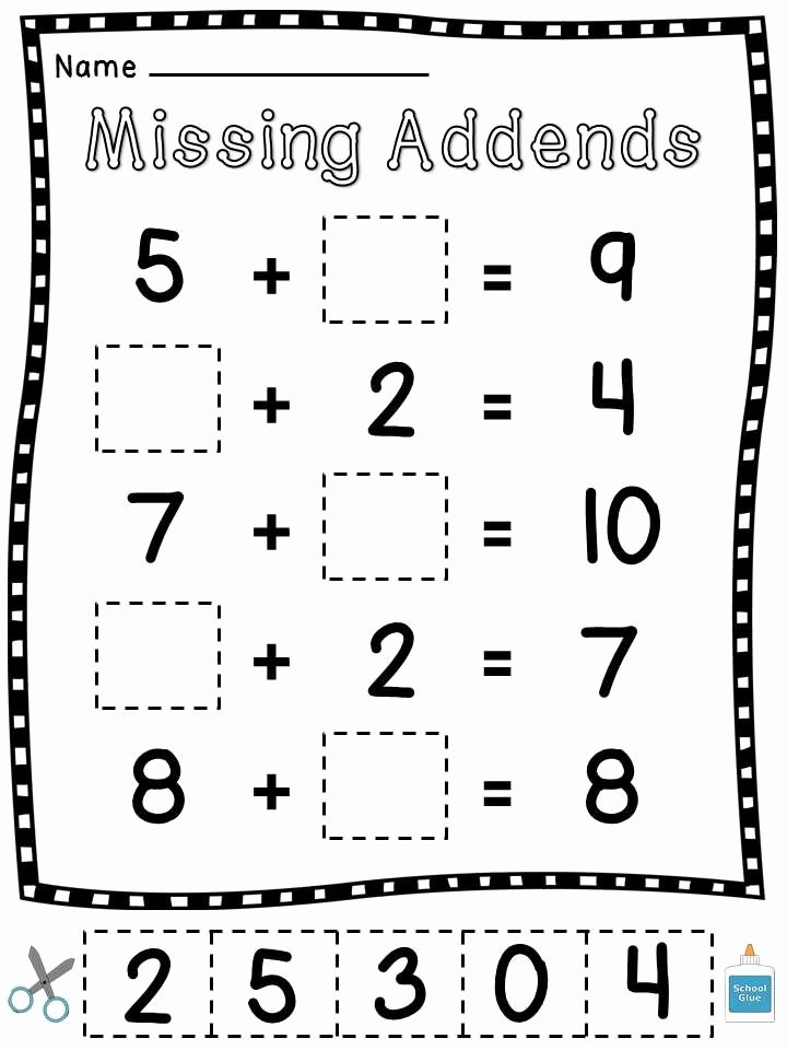 Missing Addends Worksheets 1st Grade Lovely Coloring Pages First Grade Math Exercises Missing Cut and