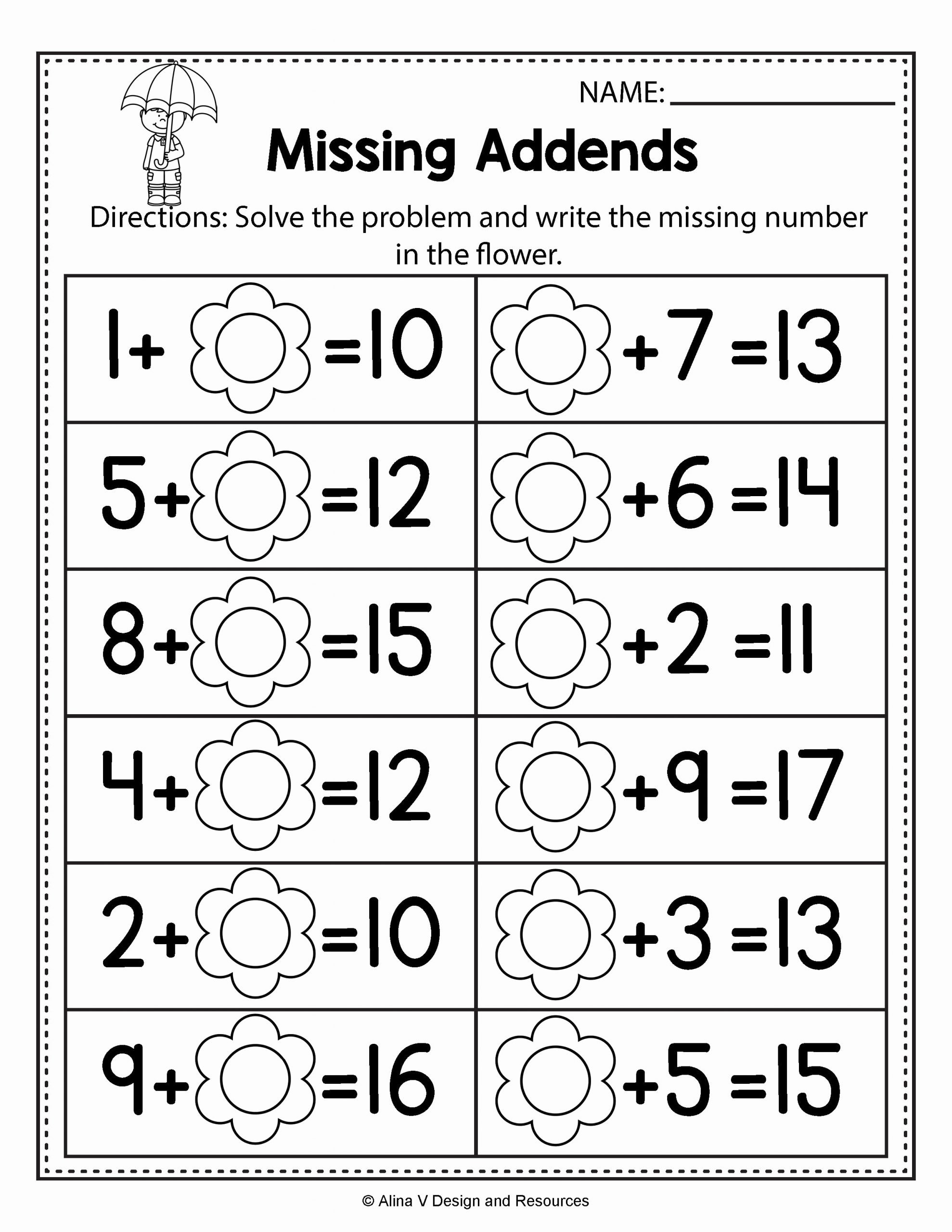 Missing Addends Worksheets 1st Grade New First Grade Missing Addend Worksheets Refrence Unique Free