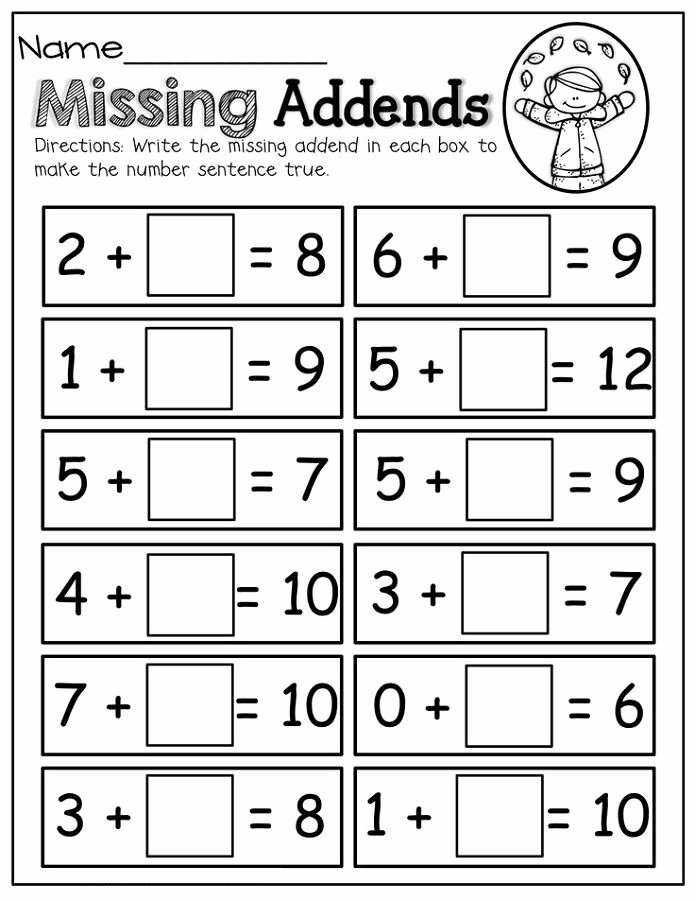 Missing Addends Worksheets 1st Grade Printable Math Worksheets Fun Missing Addends K5 Worksheets