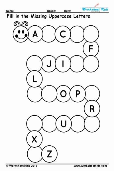 Missing Letter Worksheets for Kindergarten Best Of Uppercase Missing Alphabet Worksheet A to Z Free Printable Pdf