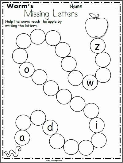 Missing Letter Worksheets for Kindergarten Fresh Worm S Missing Letters Worksheet for Kindergarten