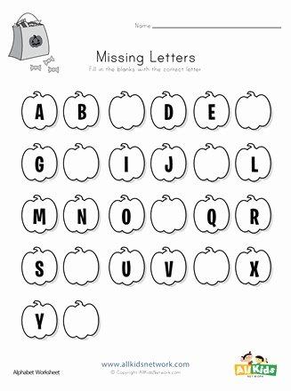 Missing Letter Worksheets for Kindergarten Inspirational Halloween Missing Letters Worksheet