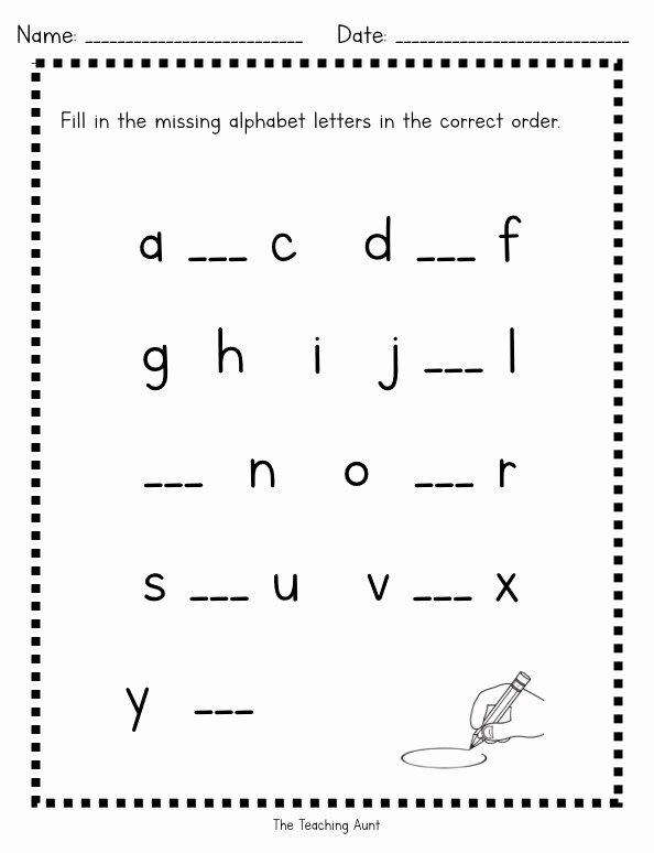 Missing Letter Worksheets for Kindergarten Kids Worksheet Missing Lowercase Lettersksheets the Teaching