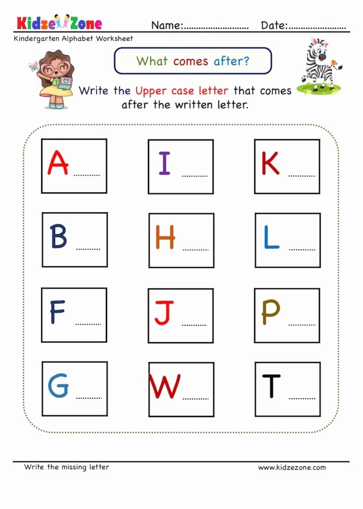 Missing Letters Worksheet for Kindergarten Ideas Kindergarten Missing Letter Worksheet What Es after 1