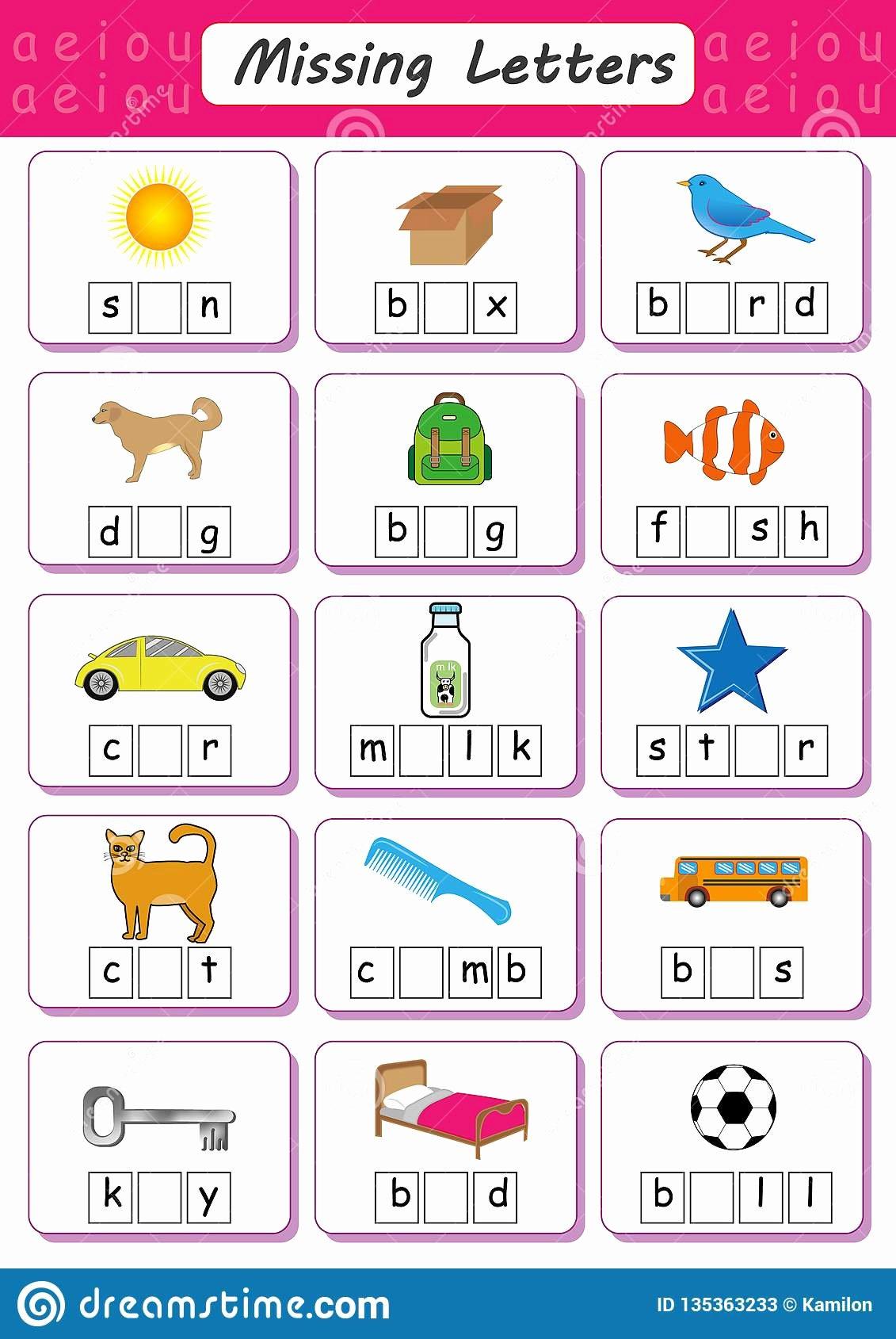 Missing Letters Worksheet for Kindergarten Kids Write Missing Letter Write the Missing Vowel Worksheet for