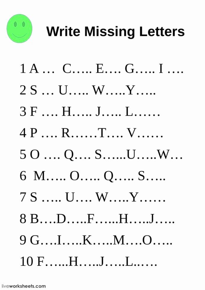 Missing Letters Worksheets for Kindergarten New Write Missing Letters Interactive Worksheet English