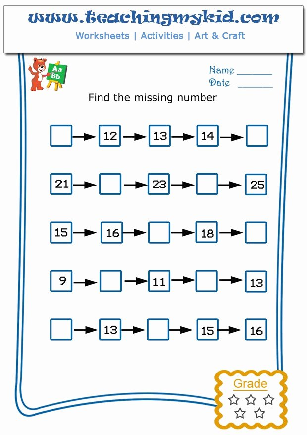 Missing Number Worksheet for Kindergarten Best Of Write the Missing Number 4 Archives Teaching My Kid