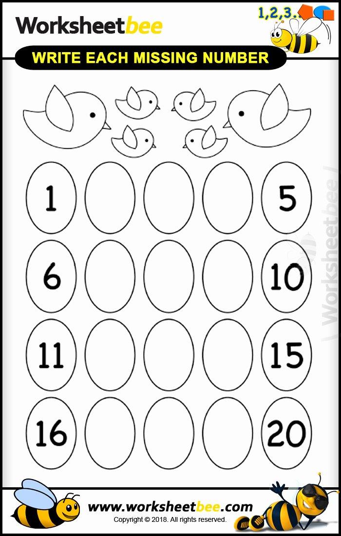 Missing Number Worksheet for Kindergarten Fresh Printable Worksheet for Kids About Write Each Missing Number