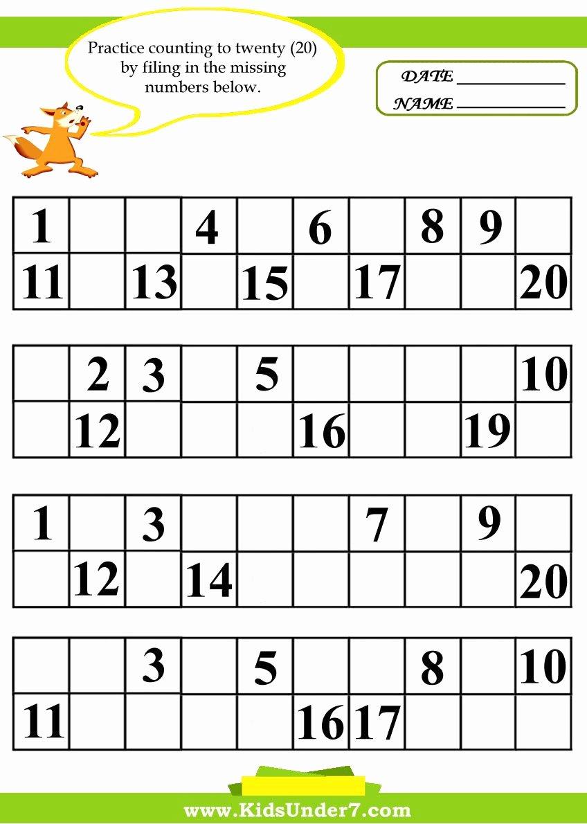 Missing Number Worksheets 1 20 Ideas Kids Under 7 Fill In the Missing Numbers Worksheets