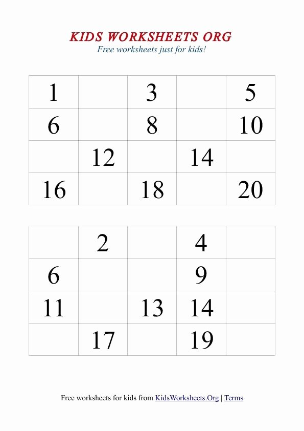 Missing Number Worksheets 1 20 Inspirational 1 20 Missing Numbers Worksheet