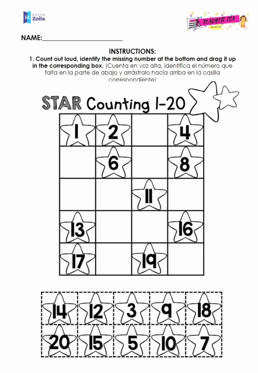 Missing Number Worksheets 1 20 Lovely Missing Numbers 1 to 20 Interactive Worksheet