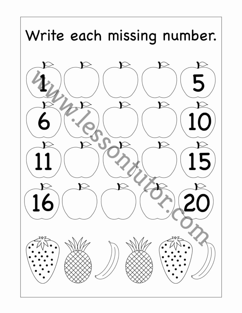 Missing Number Worksheets 1 20 Printable Missing Numbers – 1 20 Worksheet Kindergarten 8 Lesson Tutor
