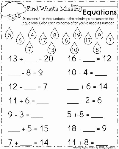 Missing Numbers In Equations Worksheet Lovely Spring First Grade Worksheets Fill In the Missing Number