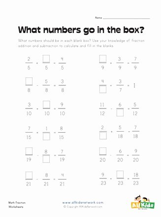 Missing Numbers In Equations Worksheets Kids Fill In the Missing Fractions