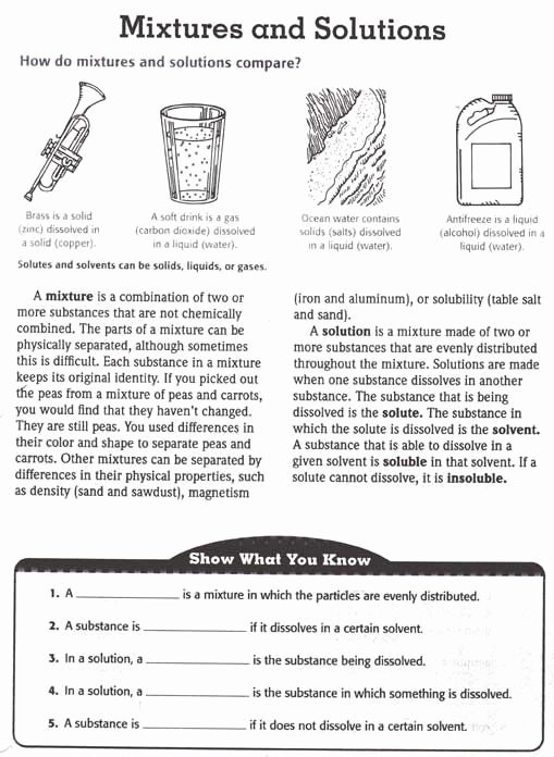 Mixtures and solutions Worksheet Answers Best Of Mixtures Vs solutions Science Of Canning