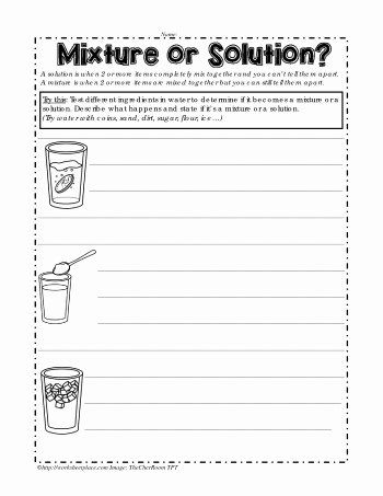 Mixtures and solutions Worksheet Answers Fresh Mixture or solution Worksheets