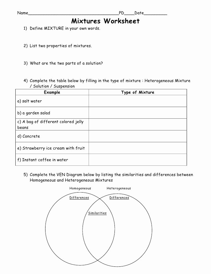 Mixtures and solutions Worksheet Answers Kids 4th Science U1 L4 Mixtures solutions