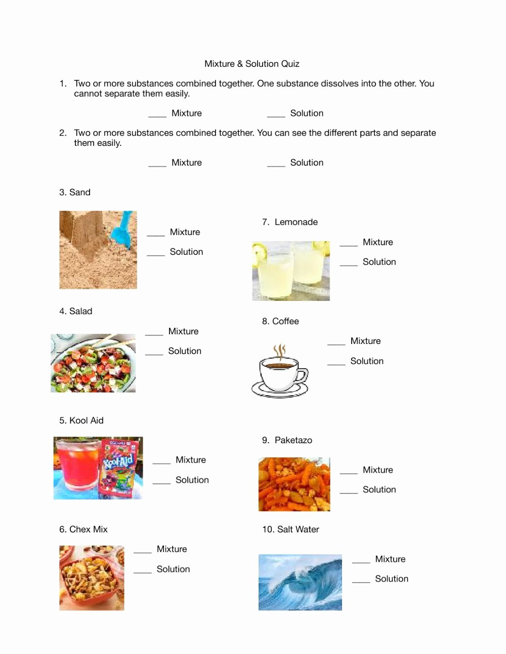Mixtures and solutions Worksheet Answers Lovely Mixture and solution Quiz Interactive Worksheet