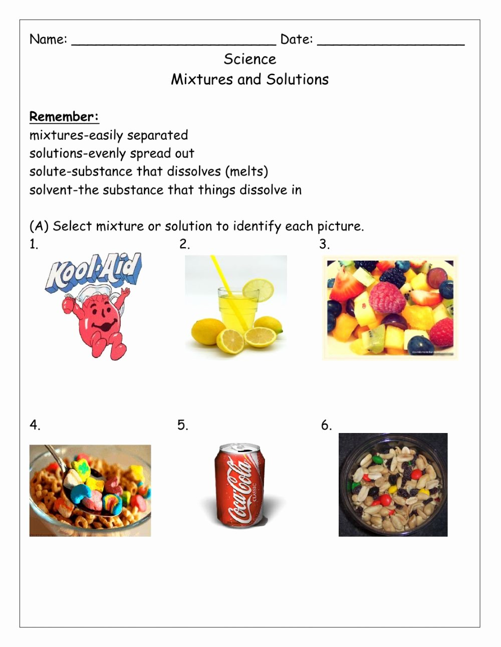 Mixtures and solutions Worksheet Answers top Mixtures and solution Interactive Worksheet