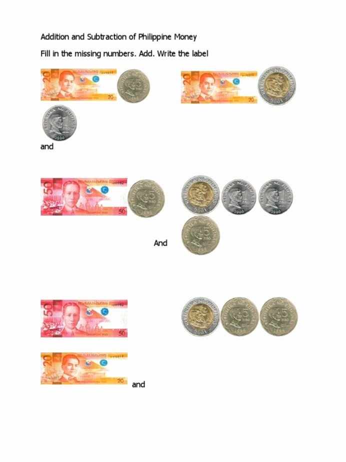 Money Worksheets for 3rd Grade New Addition and Subtraction Philippine Money Coins Pesos