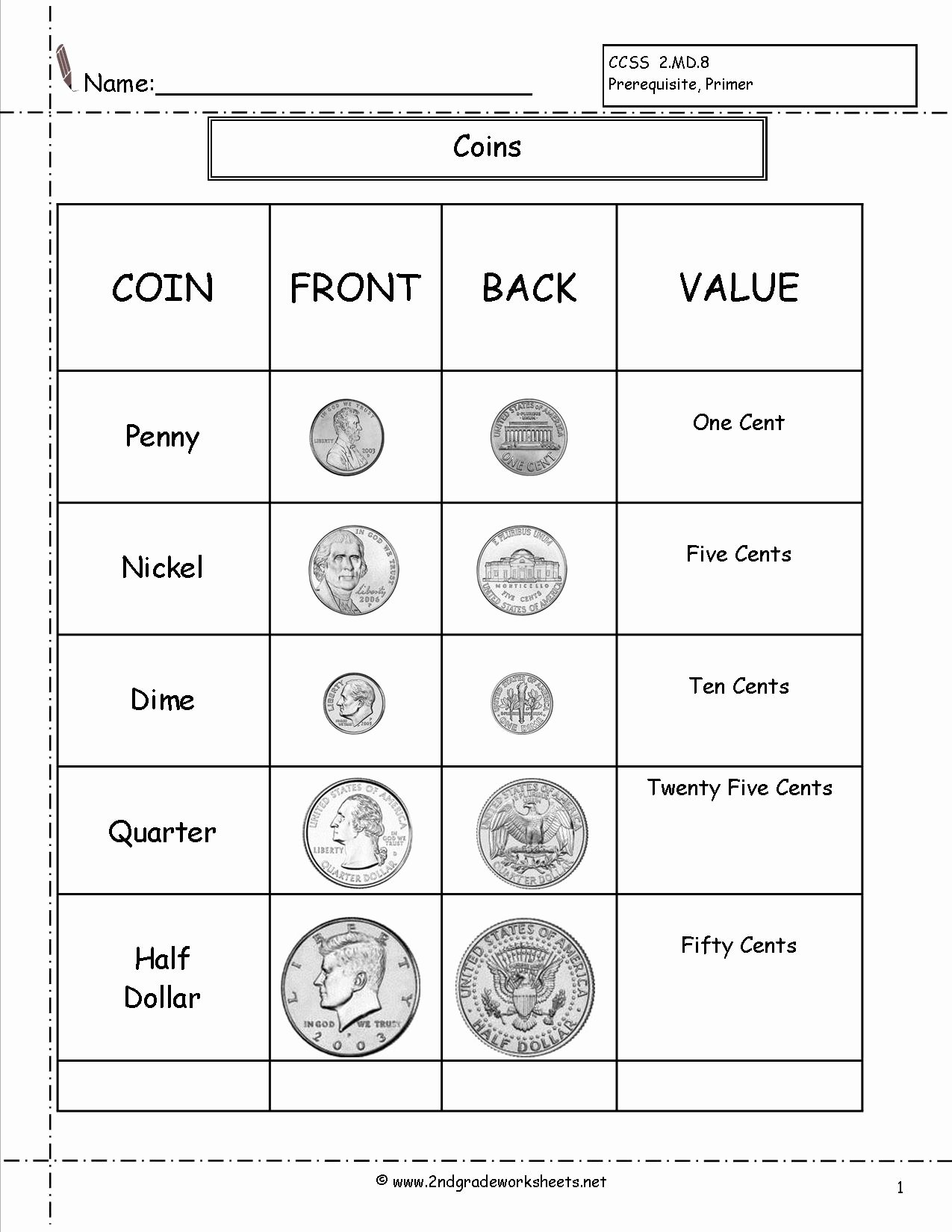 Money Worksheets for Second Grade Free Counting Coins and Money Worksheets Printouts Coin for 2nd