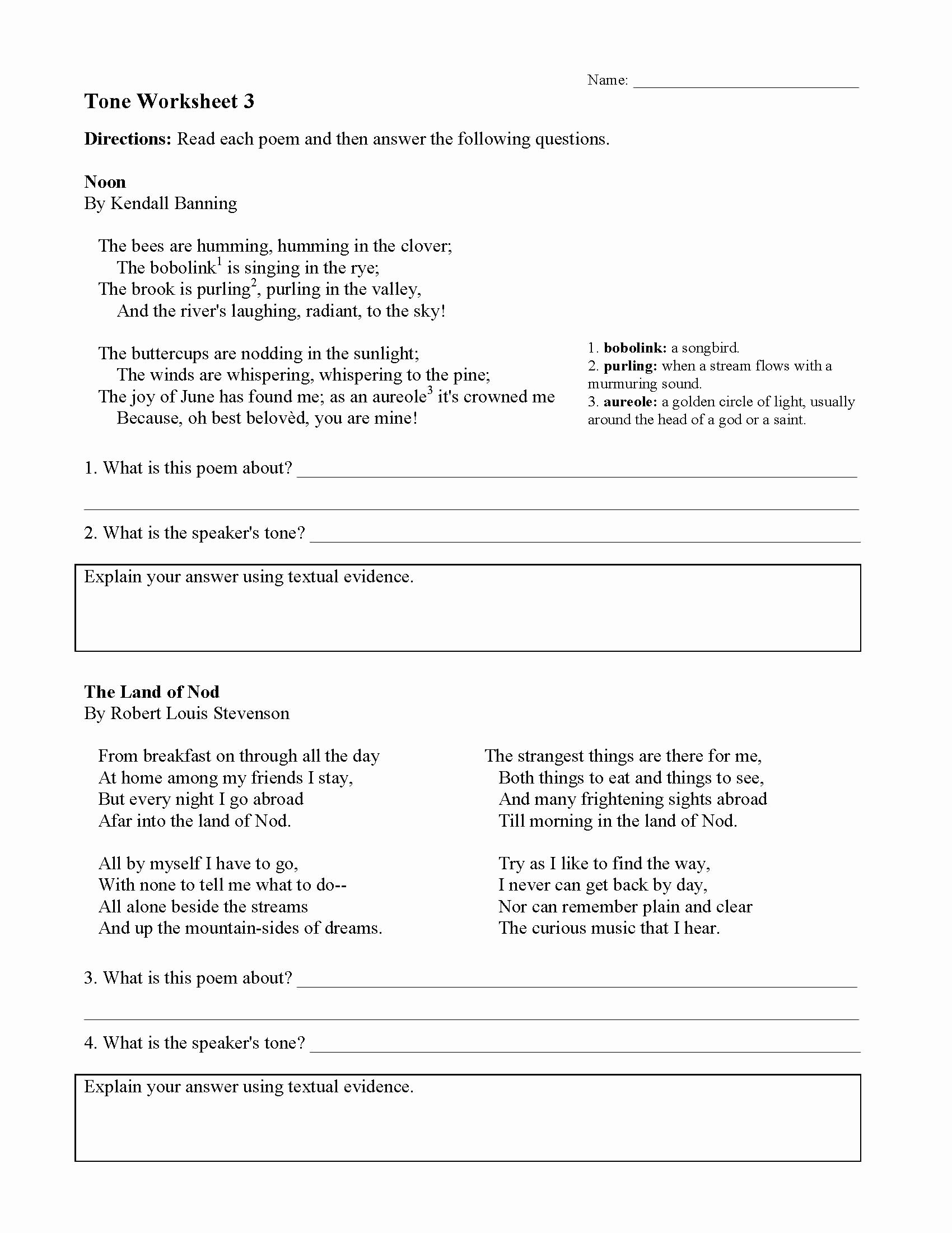 Mood and tone Practice Worksheets Inspirational tone Worksheets