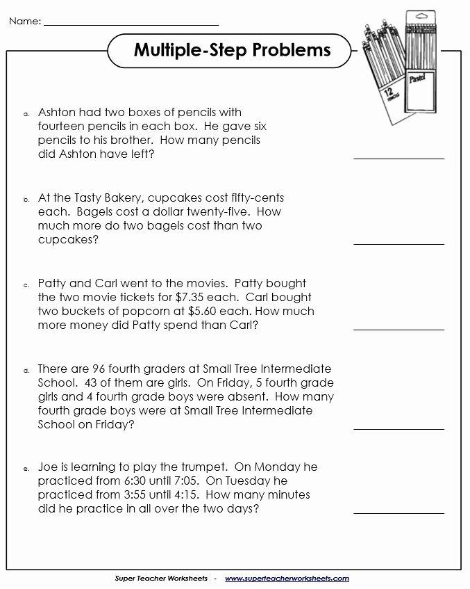 Multi Step Word Problems Worksheets Fresh Multiple Step Word Problems