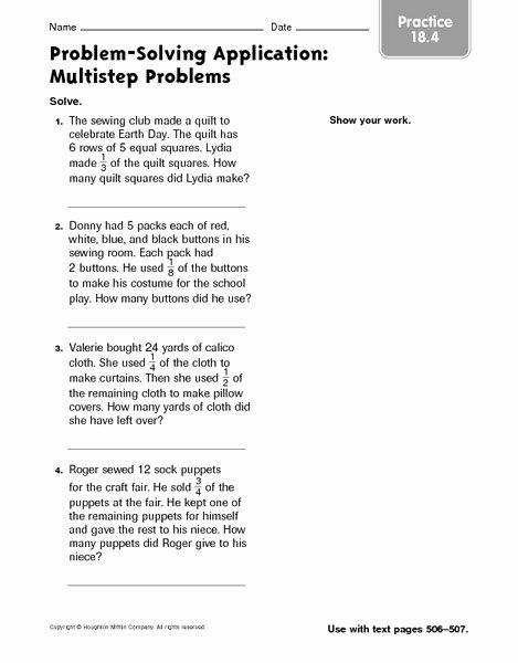 Multi Step Word Problems Worksheets Inspirational Multiple Step Word Problems Worksheets Multi Step Word