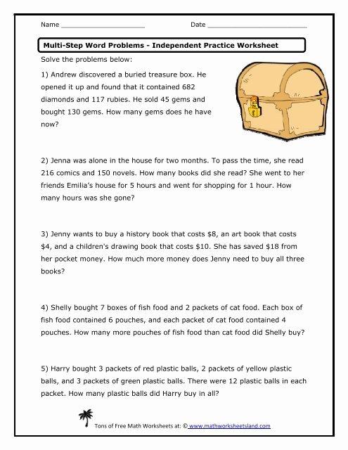Multi Step Word Problems Worksheets Printable Multi Step Word Problems Independent Practice Worksheet Math