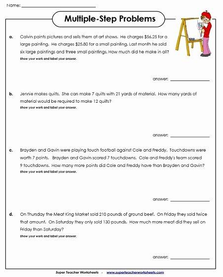 Multi Step Word Problems Worksheets top Multiple Step Word Problem Worksheets Multi Problems Free