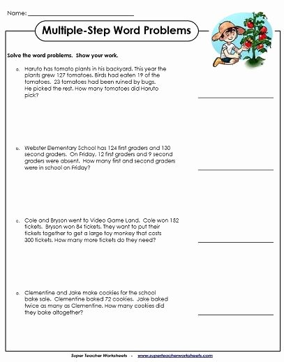 Multi Step Word Problems Worksheets top Word Problem Worksheets