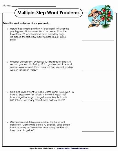 Multi Step Word Problems Worksheets top Word Problem Worksheets