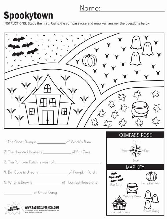 Map Worksheets for First Grade Free Spookytown Map Worksheet